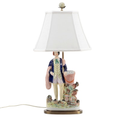 Staffordshire Fisherman Converted Figure Table Lamp with Shade, Mid-19th Century