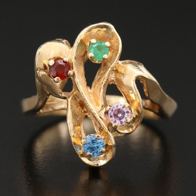 14K Yellow Gold Ring with Emerald, Citrine, Pink Sapphire and Blue Topaz