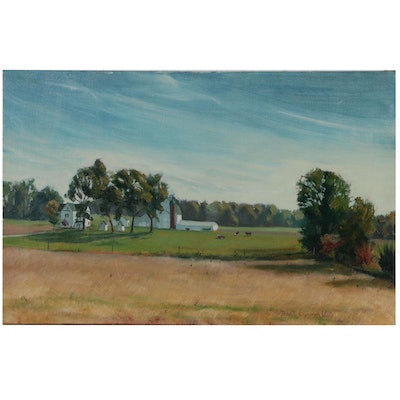 John T. Eiseman Oil Painting of a Farm Pasture