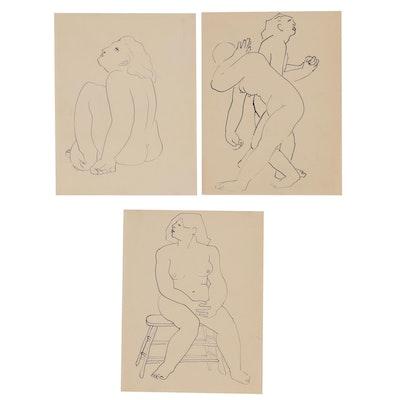 Thomas Eldred Pen & Ink Figure Drawings