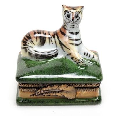 Hand-Painted Porcelain Tiger Limoges Box