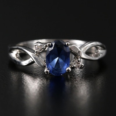 Blue Glass and Cubic Zirconia Ring