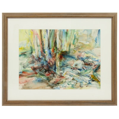Abstract Watercolor Painting, Late 20th Century