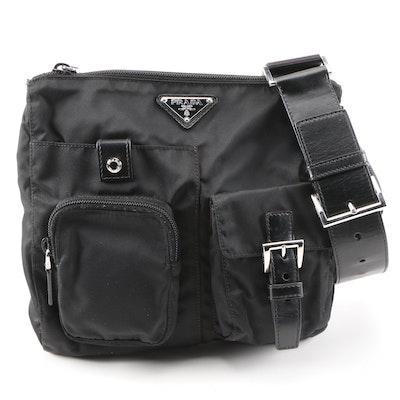 Prada Black Tessuto Nylon and Leather Belt Bag
