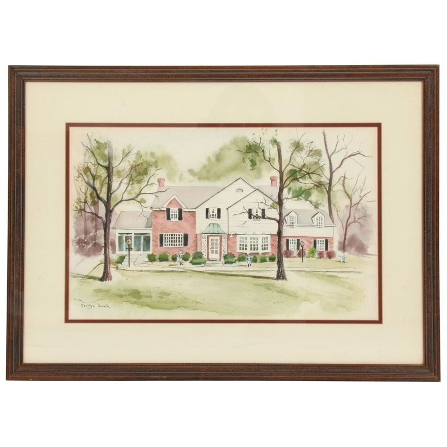 Carolyn Imwalle Watercolor Painting of Tudor Home