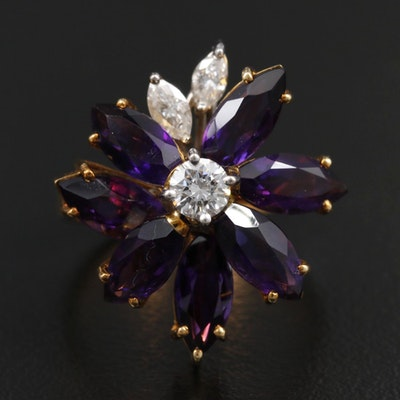 18K Yellow Gold Amethyst and Diamond Floral Motif Ring