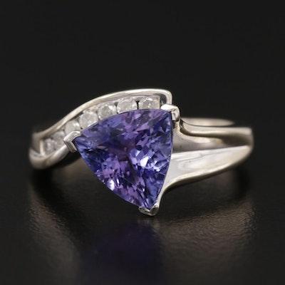 14K White Gold 1.76 CT Tanzanite and Diamond Ring