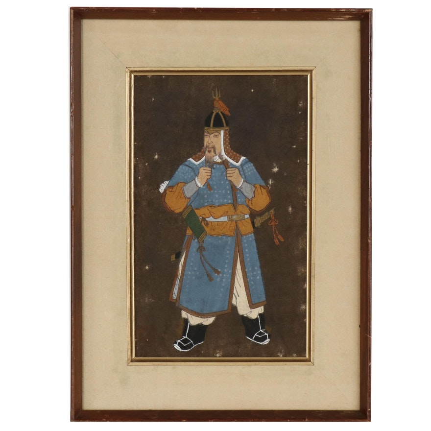 Chinese Gouache Painting of Warrior