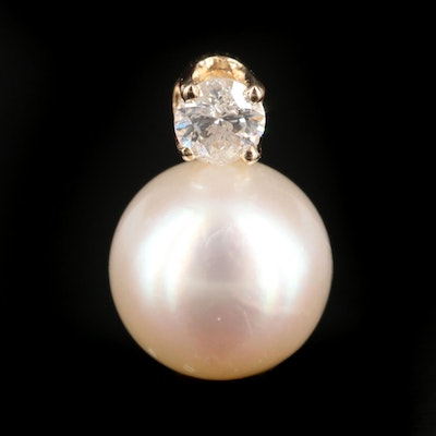 14K Yellow Gold Pearl and Diamond Pendant