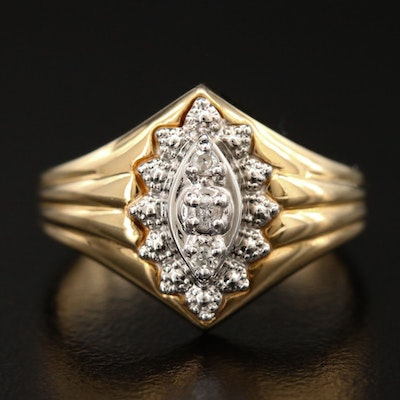 10K Yellow Gold Diamond Ring with White Gold Accent