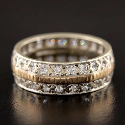 Vintage English 9K White and Yellow Gold White Spinel Eternity Band