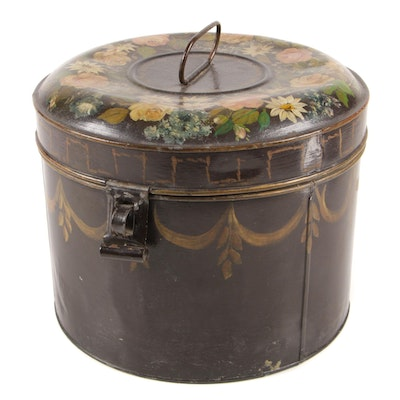 Floral Hand-Painted Tin Canister with Lock, Late 19th/ Early 20th Century