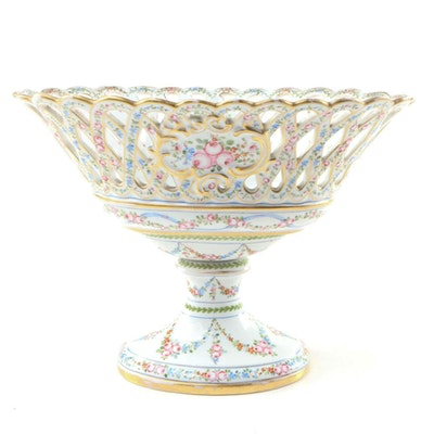 Hand-Painted Porcelain Compote with Floral Motif, Early 20th Century