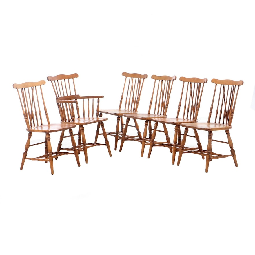 Six Maple Windsor Dining Chairs, Late 20th Century