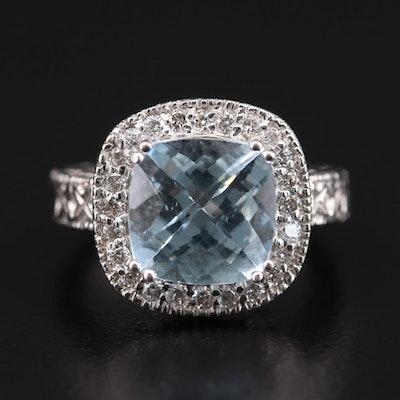 14K White Gold 3.41 CT Aquamarine and Diamond Ring