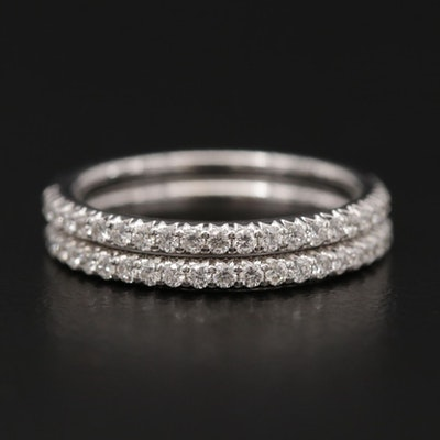 14K White Gold Diamond Stacking Bands