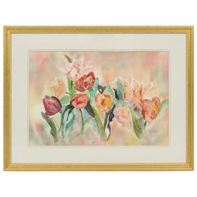 Mary Logsdon Watercolor Painting of Tulips
