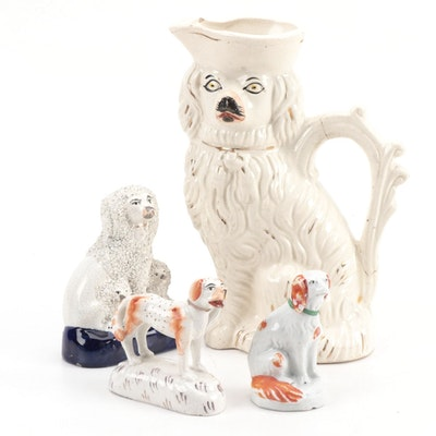 Staffordshire Dog Jug and Figurines including a Fairing, 1890-1930