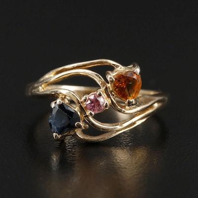 14K Yellow Gold Sapphire, Citrine, and Tourmaline Ring
