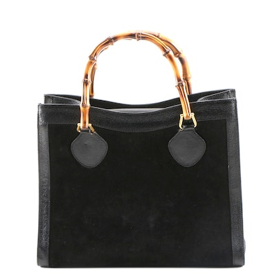 Gucci Bamboo Black Suede and Leather Handbag