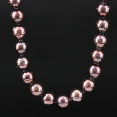 Hand Knotted Cultured Pearl Strand Necklace with 14K Gold Clasp