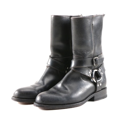 Frye Black Leather Harness Motorcycle Style Boots