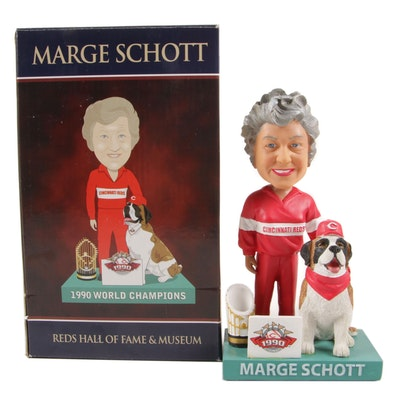 "Marge Schott ""1990 World Champions"" Bobble Head Doll in Original Box"