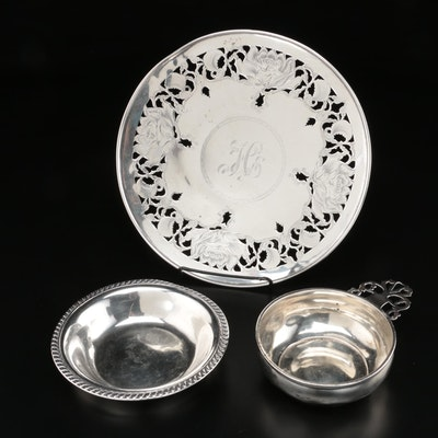 Joseph Mayer & Bros. Art Nouveau Sterling Silver Bonbon Plate and Other Sterling