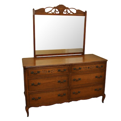Rway French Provincial Style Six-Drawer Dresser with Mirror