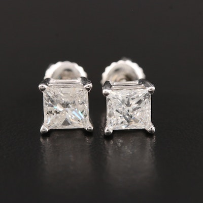 14K White Gold 1.56 CTW Diamond Solitaire Earrings