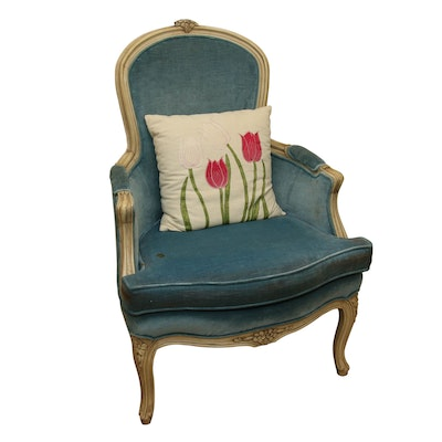 French Provencal Style Armchair in Carved Frame with Velvet Upholstery