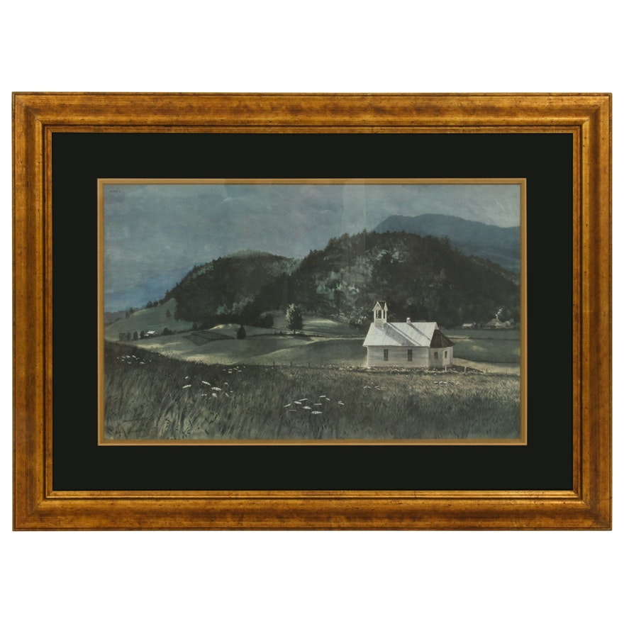 John Chumley Offset Lithograph of Rural Landscape