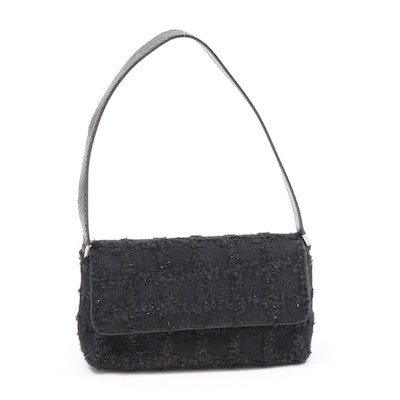 Kate Spade New York Black Tweed and Leather Evening Bag