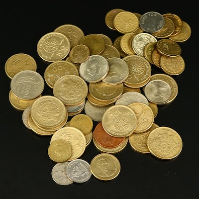 Assortment of Sixty Foreign Coins and Tokens