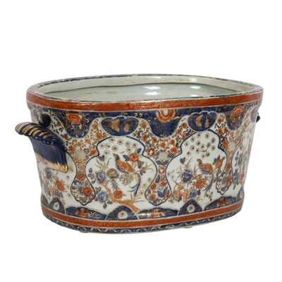 Chinese Hand-Painted Porcelain Planter in Bird Motif