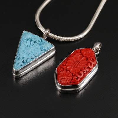Sterling Snake Chain with Imitation Cinnabar and Imitation Turquoise Pendants