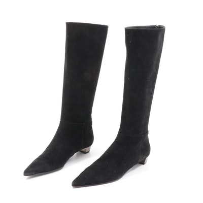 Prada Black Suede Pointed Toe Zip Boots