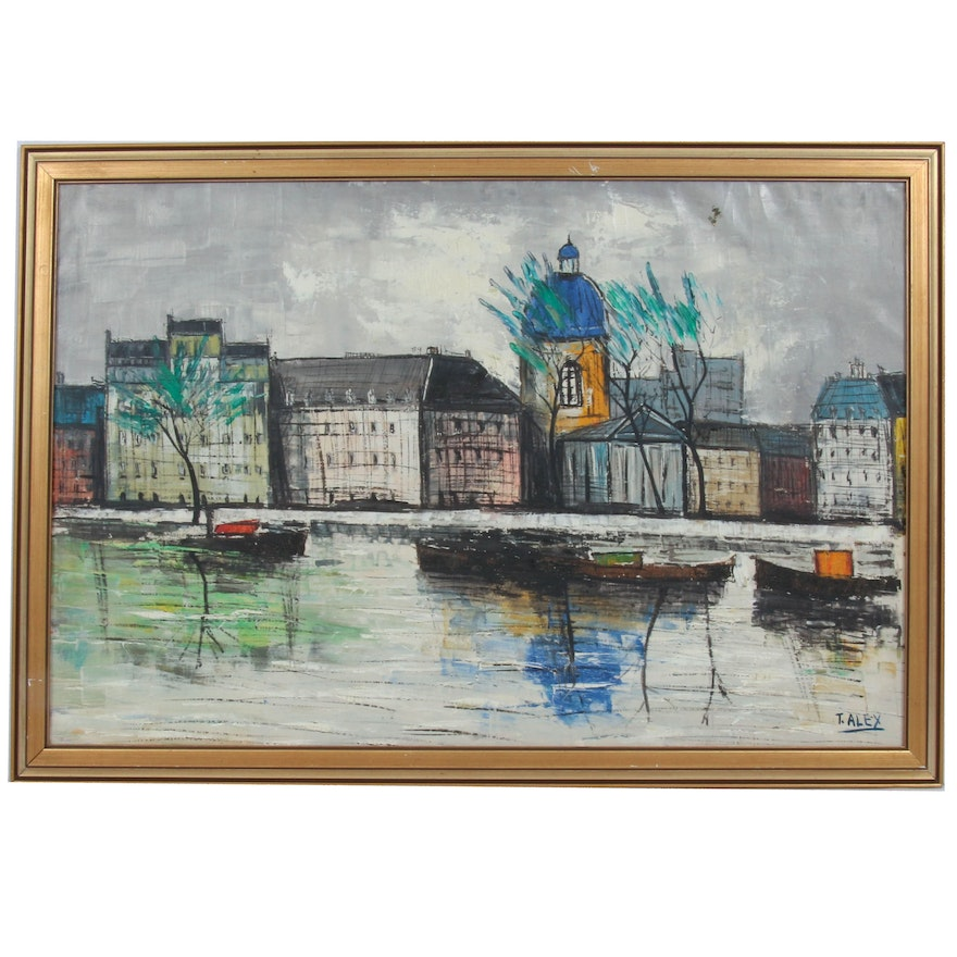 T. Alex Oil Painting of City on Water, Mid-20th Century