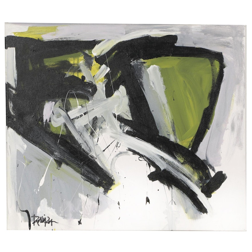 """Robbie Kemper Abstract Acrylic Painting """"Grays Black Olive"""""""