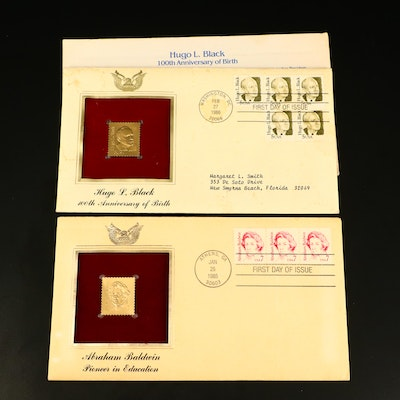 Two Commemorative First Day Covers with Gold Stamp Replica Cachets