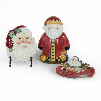 Fitz and Floyd Ceramic Holiday Serving Plates and Sakura Santa Cookie Jar