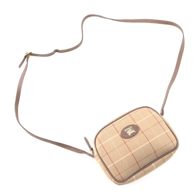 Burberrys Tan Plaid Canvas and Brown Saffiano Leather Crossbody