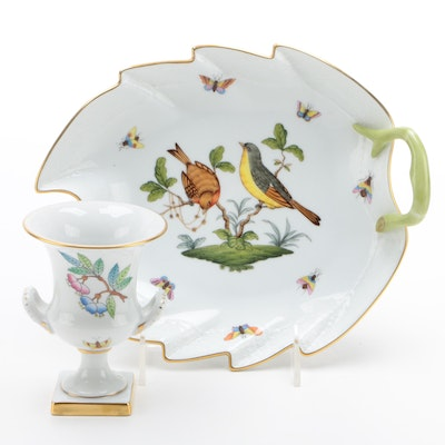 "Herend ""Rothschild Bird"" Porcelain Bowl and ""Queen Victoria"" Urn Bud Vase"