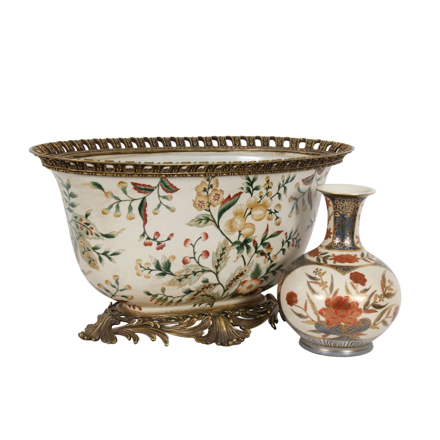 Toyo Japanese Hand-Painted Vase and Porcelain and Metal Planter