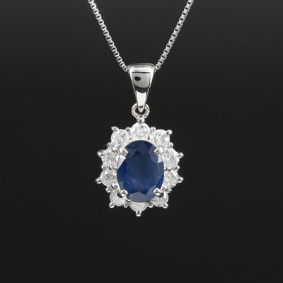 Platinum Sapphire and Diamond Necklace with Slide Adjustment Bead