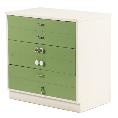 Mid Century Modern Green and White Laminate Chest, Mid-20th Century