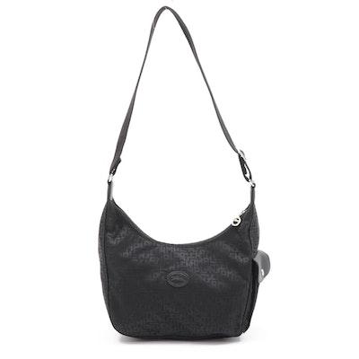 Longchamp Black Jacquard and Leather Shoulder Bag