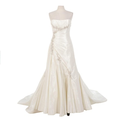 Sophia Tolli Embellished Strapless Satin Wedding Gown with Corset Lace-Up Back