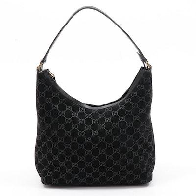Gucci Black GG Suede and Leather Shoulder Bag