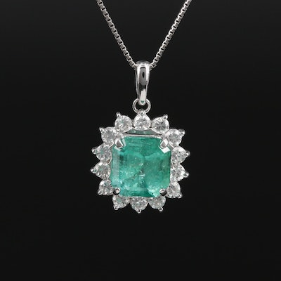 Platinum 2.26 CT Emerald and Diamond Necklace with Bead Slide Adjustment